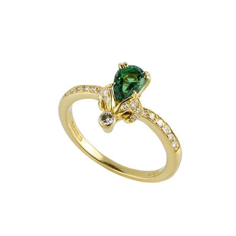 18k Yellow Gold Emerald and Diamond Dress Ring